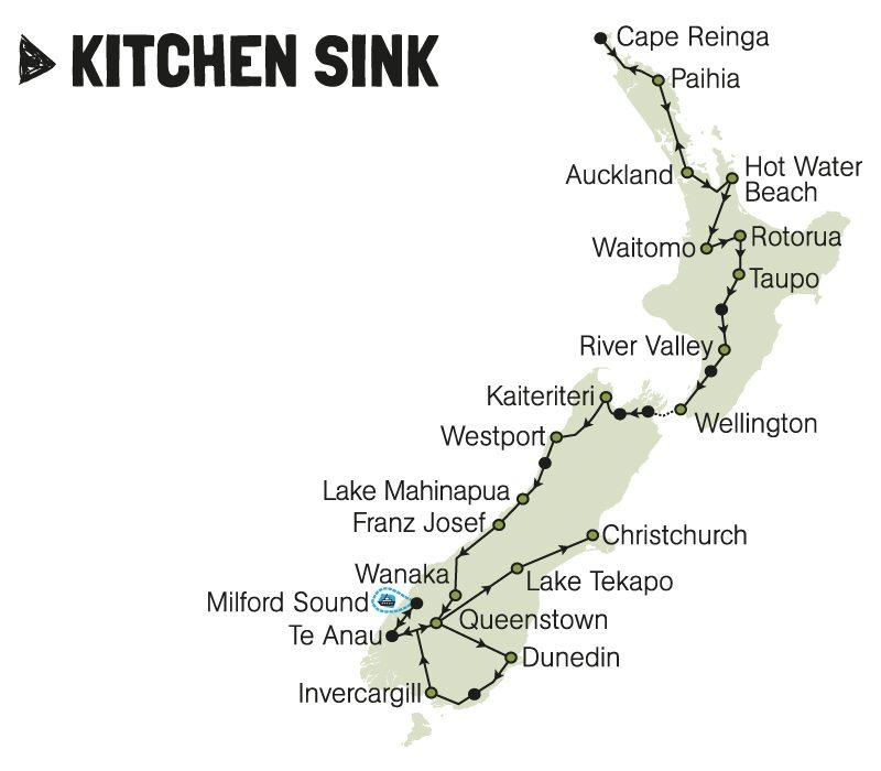 kiwi experience bus pass kitchen sink new zealand