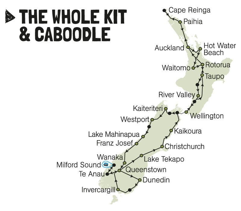kiwi experience bus pass whole kit and caboodle new zealand