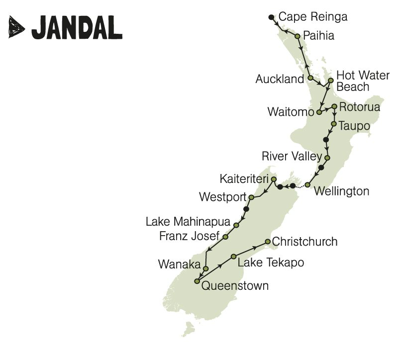 kiwi experience bus pass jandal auckland christchurch new zealand rtw backpackers