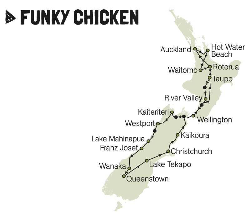 kiwi experience bus pass funky chicken new zealand rtw backpackers